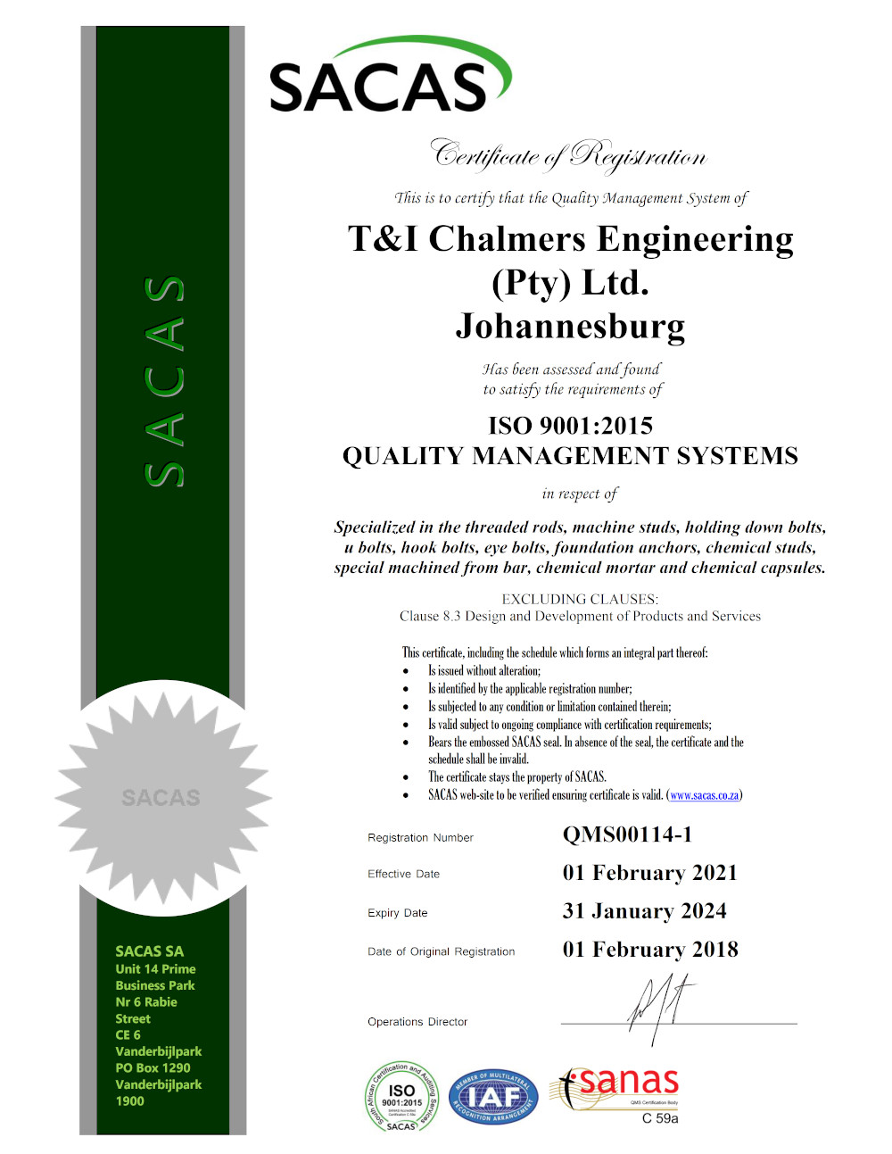 T&I Chalmers ISO 9001:2015 Manufacturer